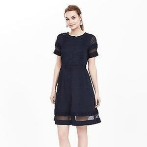 Banana Republic Geo Lace Sheer Panel Dress Navy